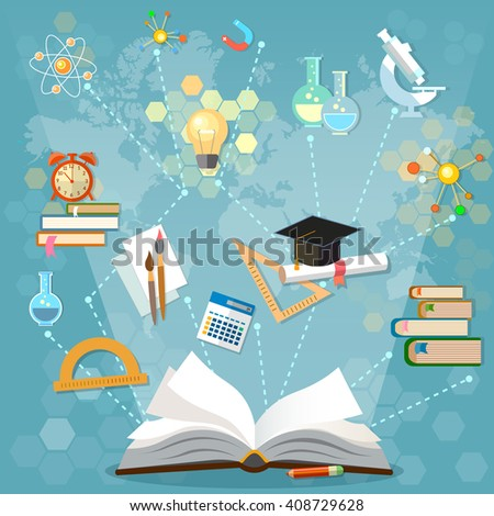 Time to education open book back to school school subjects power of knowledge vector illustration - stock vector