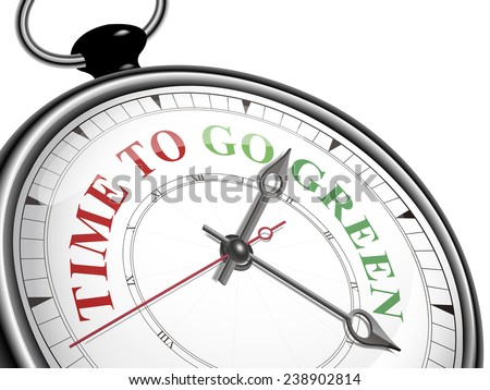 time to go green concept clock isolated on white background - stock vector