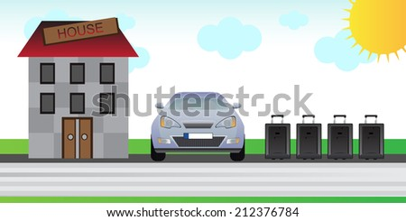 Time to holiday - car ready to go on vacation - stock vector