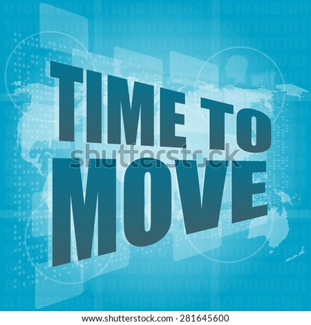 time to move words on digital touch screen vector - stock vector