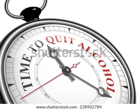 time to quit alcohol concept clock isolated on white background - stock vector