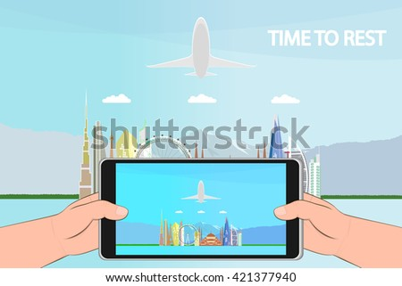time to rest. Travel the world. Travel and tourism. travel vector illustration. photo on the smartphone. - stock vector