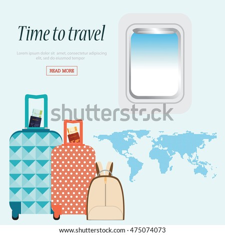 Time travel conceptual airplane window baggage stock vector time to travel conceptual with airplane window and baggage world mapbusiness trip vector gumiabroncs Images