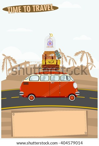 Time to travel. Illustration of an old car on a landscape background. Flat vector