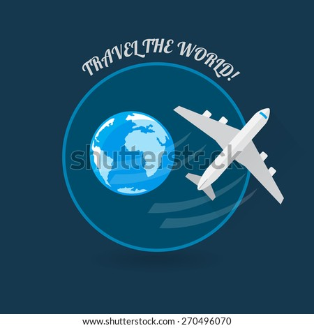 Time to travel modern flat style plane icon - stock vector