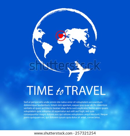 Time to travel. Plane & world.  Vector illustration - stock vector
