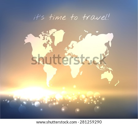 Time to travel. Sea sunrise vector background with world map outlines. - stock vector