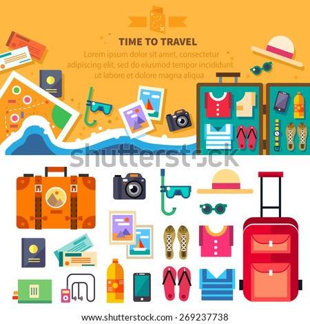 Time to travel, summer vacation, beach rest: sun, sea, waves, mask, hat, open suitcase, clothes, shoes, passport, tickets, map. Vector flat background and objects illustrations - stock vector