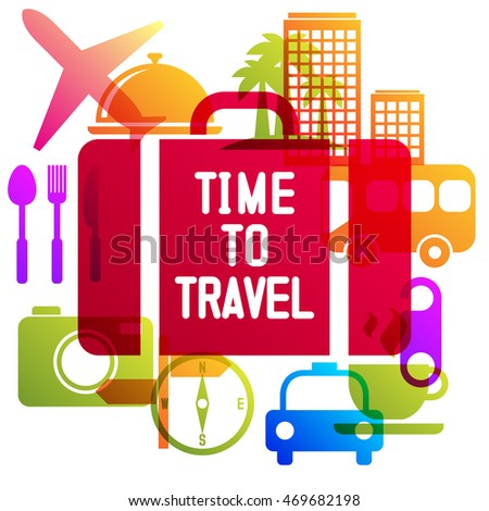 Time to travel, travel-ling on holiday journey. Vector illustration flat design.