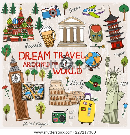 Time to Travel with landmarks from different countries - stock vector