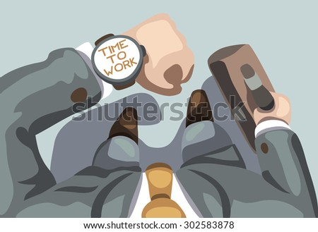 Time to work. Business background. Vector illustration. - stock vector