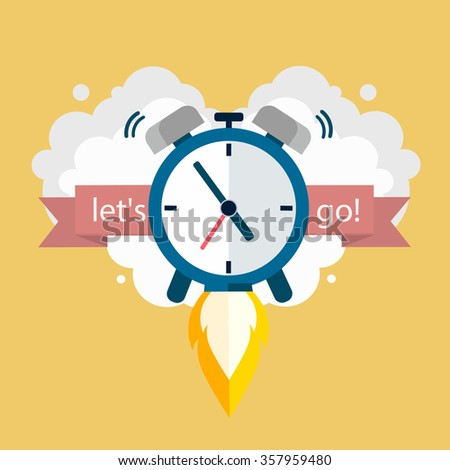 Time to work. Clock soaring up. Vector Design - stock vector
