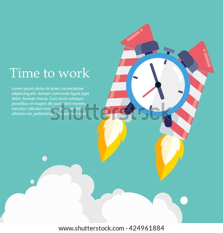 Time to work. Time is running out. Clock on the Rocket soaring up .Vector Design - stock vector