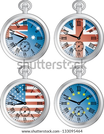 Time zone vector clocks showing different time - stock vector