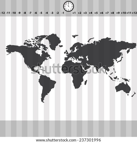 Time zones world map clock stripes stock vector hd royalty free time zones world map with clock and stripes eps10 gumiabroncs Choice Image