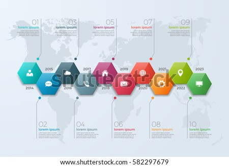 Timeline Chart Infographic Template 10 Options Stock Vector
