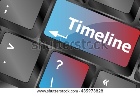 timeline concept - word on keyboard keys . keyboard keys. vector illustration - stock vector