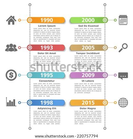 Timeline design template, vector eps10 illustration - stock vector