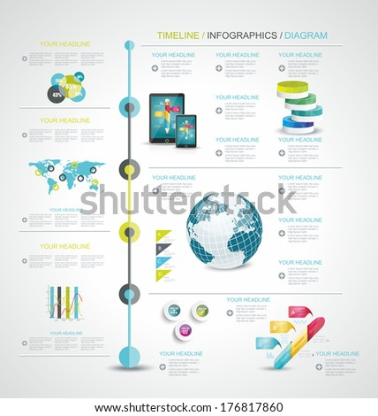 Timeline design template with world map, web buttons and paper tags.  - stock vector