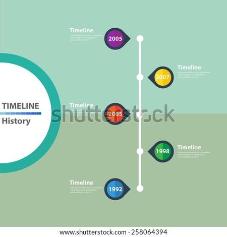 Timeline History Presentation Template flat design   - stock vector