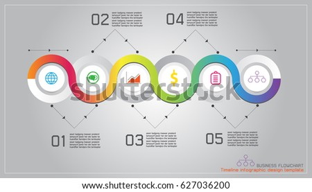 Timeline Infographic Design Template Flowchart Layout Stock Vector