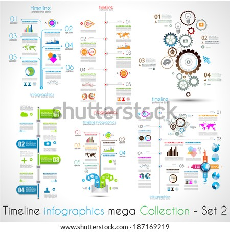 Timeline Infographic Design Templates Set 2 Stock Vector 187169219 ...