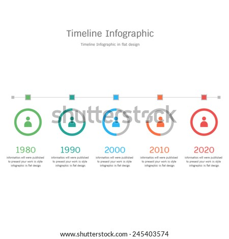 timeline infographic in flat design - stock vector