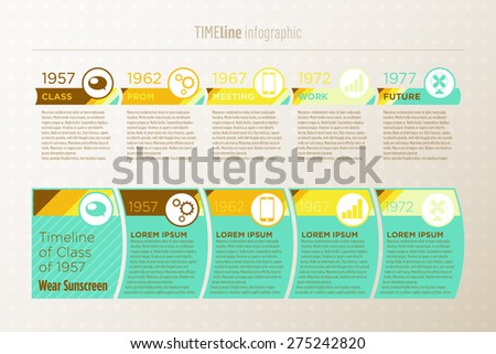 Timeline infographic, retro look