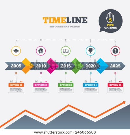 Timeline infographic with arrows. Graduation icons. Graduation student cap sign. Education book symbol. First place award. Winners cup. Five options with hand. Growth chart. Vector - stock vector