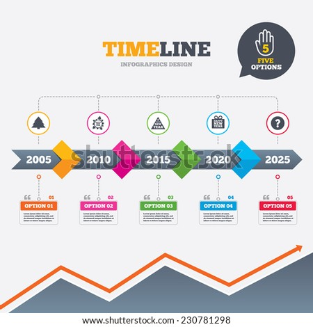 Timeline infographic with arrows. Happy new year icon. Christmas trees signs. World globe symbol. Five options with hand. Growth chart. Vector - stock vector