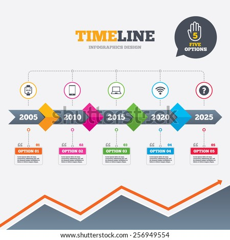 Timeline infographic with arrows. Notebook and smartphone icons. Smart watch symbol. Wi-fi and battery energy signs. Wireless Network symbol. Mobile devices. Five options with hand. Growth chart. - stock vector