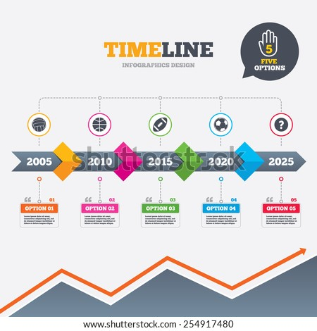 Timeline infographic with arrows. Sport balls icons. Volleyball, Basketball, Soccer and American football signs. Team sport games. Five options with hand. Growth chart. Vector - stock vector