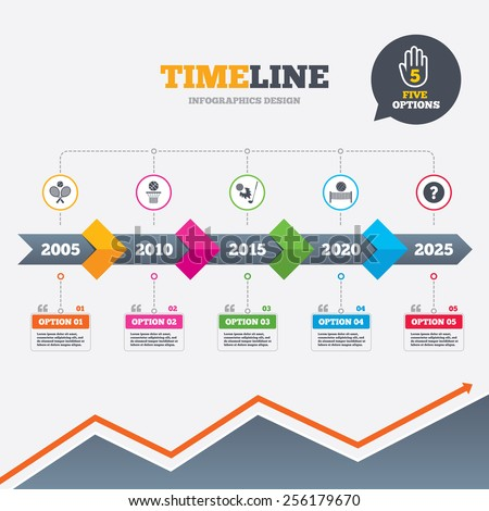 Timeline infographic with arrows. Tennis rackets with ball. Basketball basket. Volleyball net with ball. Golf fireball sign. Sport icons. Five options with hand. Growth chart. Vector - stock vector