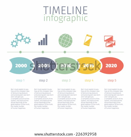 Timeline infographic with diagram and steps years ago in retro style on white background - stock vector