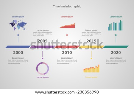 Timeline Infographic with diagrams and text in retro style - stock vector