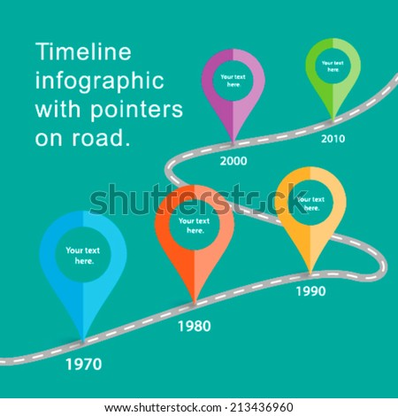 Timeline infographic with pointers on road of life. - stock vector