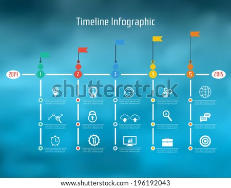 Timeline Infographic. With set of Icons. Vector design template.