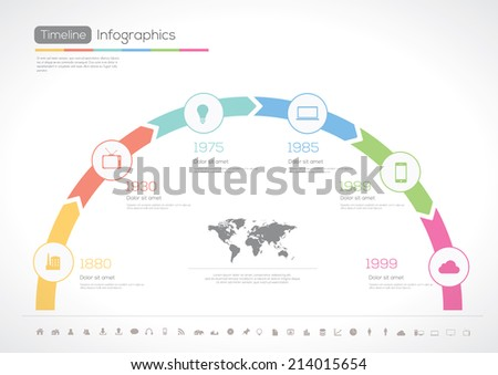 Timeline Infographic. With set of Icons. Vector design template. - stock vector