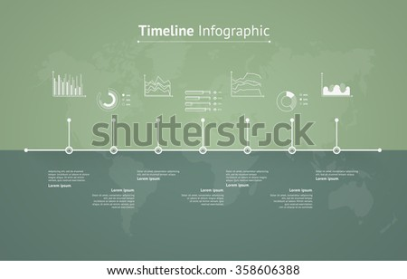 Timeline infographic with unfocused background and icons set. World map  - stock vector