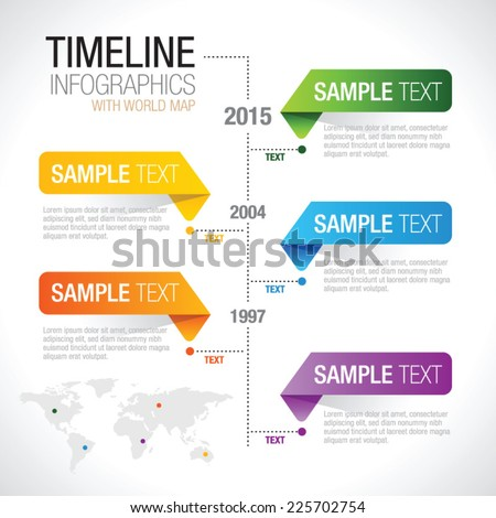 Timeline Infographiccolorful elements with world map - stock vector