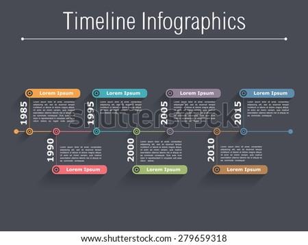 Timeline infographics design template, dark background, vector eps10 illustration - stock vector