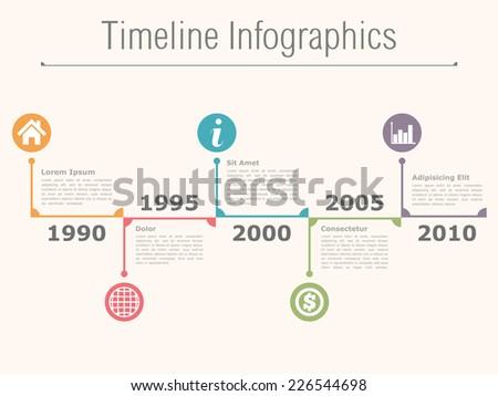Timeline infographics design template, vector eps10 illustration - stock vector