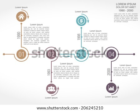 Timeline infographics design template with four elements, vector eps10 illustration - stock vector