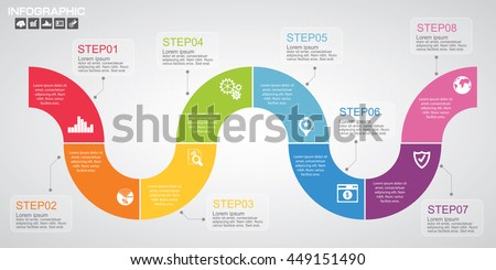 Timeline infographics design template with options, process diagram, vector eps10 illustration - stock vector