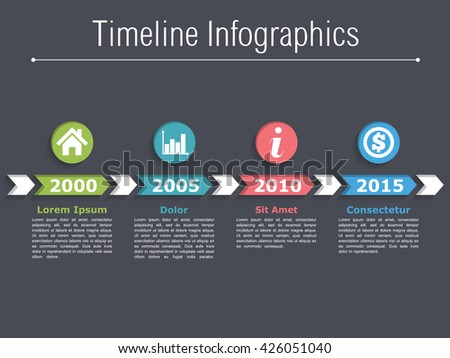 Timeline infographics design with arrows, timeline template, workflow or process diagram, flowchart, vector eps10 illustration - stock vector