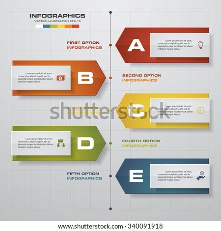 Timeline infographics, 5 steps elements and icons. Design clean number banners template/graphic or website layout. - stock vector