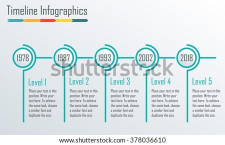 Timeline Infographics template. Horizontal design elements. Vector illustration. - stock vector