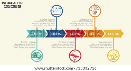 timeline infographics template arrows flowchart workflow stock