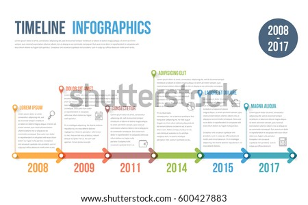 Timeline infographics template with colorful arrows, workflow or process diagram, vector eps10 illustration