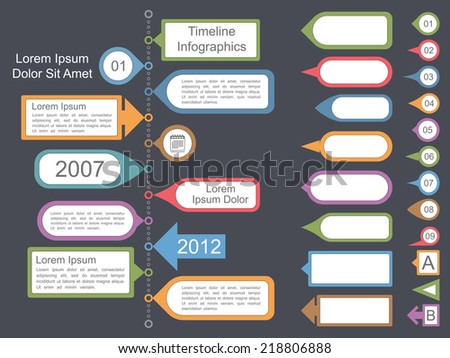 Timeline infographics template with different elements for your text, vector eps10 illustration - stock vector